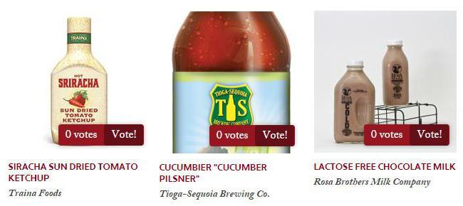 "Left to Right: Traina Foods Sriracha Sun Dried Tomato Ketchup, Tioga-Sequoia ""Cucumbier"", Rosa Brothers Lactose Free Chocolate Milk"