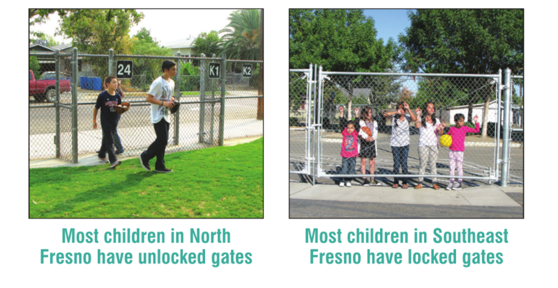 """Cultiva La Salud ran this ad in the local newspaper titled """"Locked School Gates Hurt Our Children's Health."""" They argue that children in south Fresno do not have the same opportunities as other kids in different school districts."""