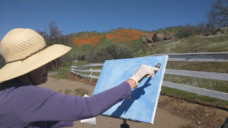 Sandy Kowallis paints the poppy covered hills east of Clovis