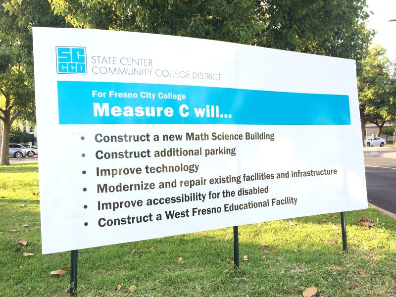 This Measure C sign appears at Fresno City College.
