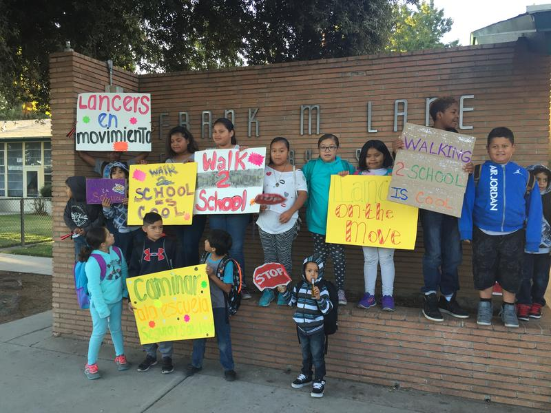 Lane Elementary School students on International Walk and Bike to School Day 2016.