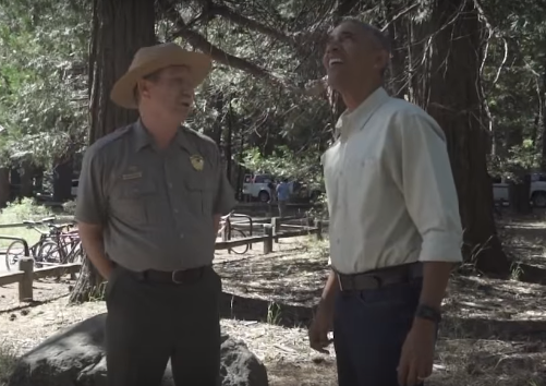 A still image from a video taken this summer showing Yosemite Superintendent Don Neubacher meeting with President Obama at an event to celebrate the 100th anniversay of the National Park Service.