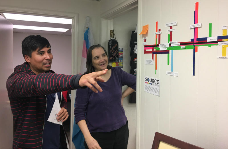 Nick Vargas and Dr. Kathryn Hall both volunteer regularly at the SOURCE LGBT+ center in Visalia, CA.
