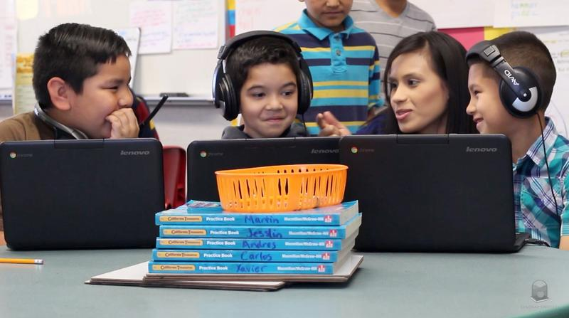 A few years ago, the Lindsay Unified School District began equipping all students with iPad Minis or Google Chromebooks, seen here.