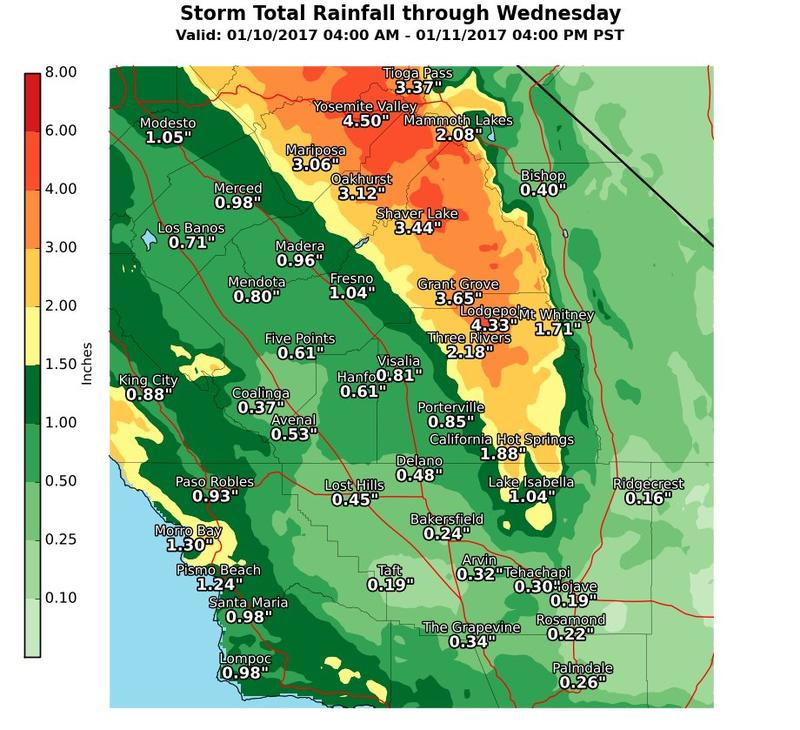 Here is the latest storm total precipitation forecast image for Central California as of 5:23 a.m. Tuesday January 10, 2016.