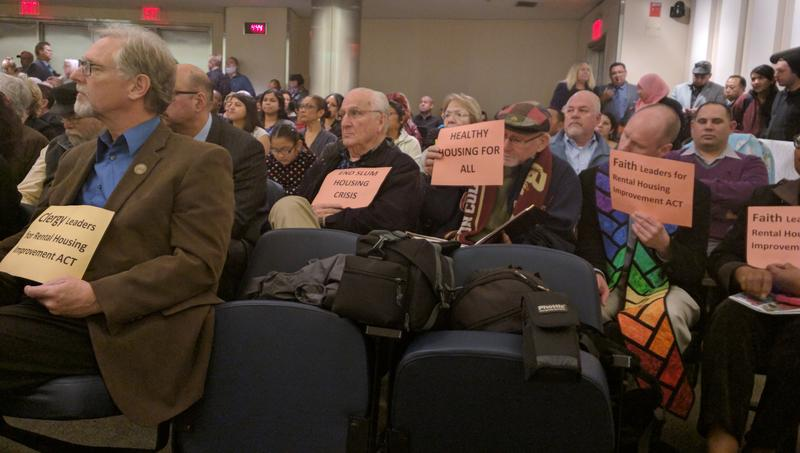 Housing advocates gather in city hall