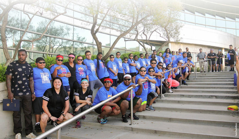 Students from the Healthy Lifestyle and Fitness Camp pose on the steps of Fresno City Hall