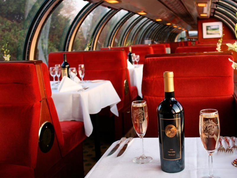 (2) gift certificates for Gourmet Dinner Package on the Train, courtesy of Napa Valley Wine Train