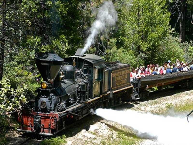 2 adults 2 children ride on The Logger Steam Train courtesy of Yosemite Mountain Sugar Pine Railroad