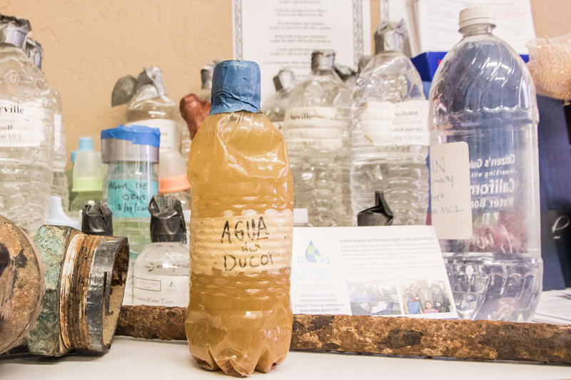 Samples of tap water from around the San Joaquin Valley, some discolored and smelly, are collected and displayed at the Community Water Center, a non-profit advocacy group based in Visalia.
