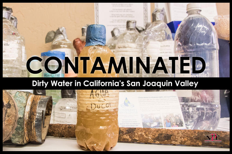 At the Community Water Center in Visalia bottles of contaminated water are on display from communities across the region.