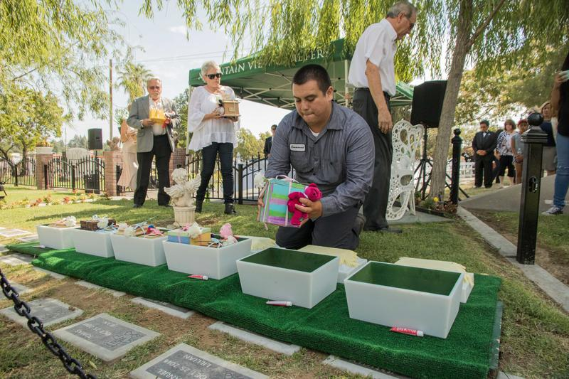 At the Fresno Garden of Innocence, the cremated remains of abandoned babies are placed in vaults in pairs, each with a blanket and Beanie Baby.