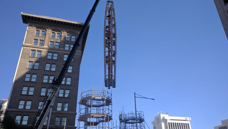 Fulton Mall Clock Tower being moved
