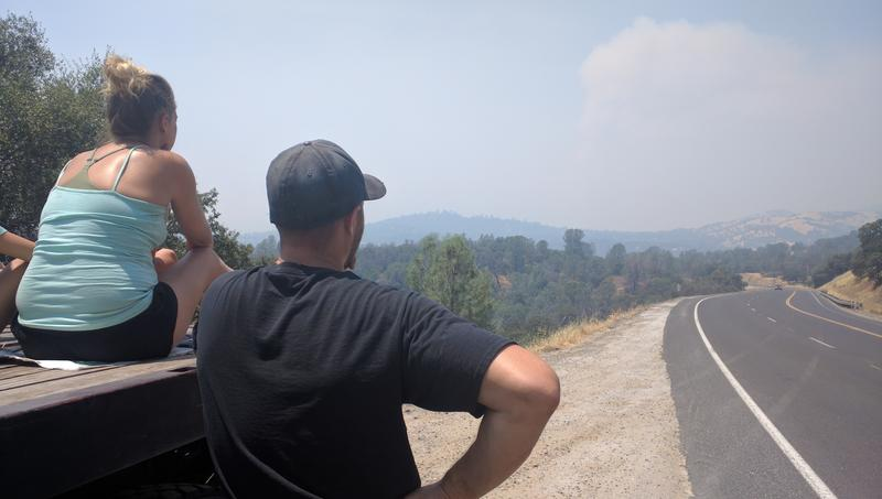 Scott Eastwood waits on the fate of his home, watching the fire burn from Bootjack