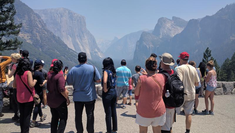 Tourists snap pics at Tunnel Overlook