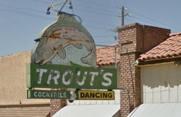 An image of the famous Trout's sign from Google Streetview, taken in 2016.