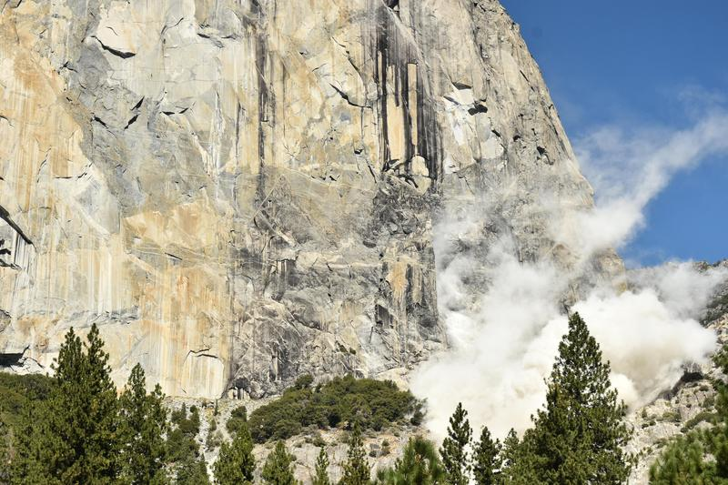 A photo provided by the Park Service shows the aftermath of the El Capitan rockfall