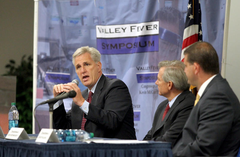 Rep. Kevin McCarthy, R-Bakersfield, leads a Congressional Valley Fever Task Force, which includes Rep. David Schweikert, R-Arizona, center, and Rep. David Valadao, R-Hanford, from California at the Valley Fever Symposium in 2013.