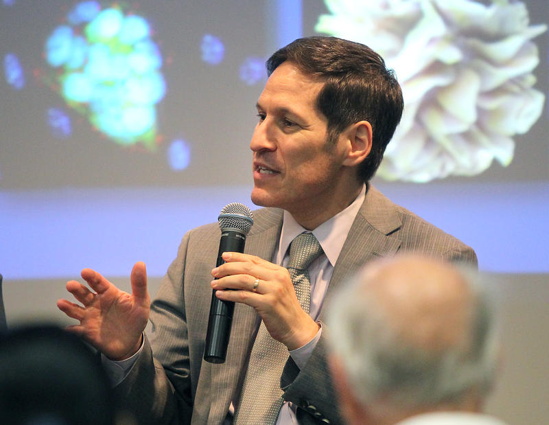 Dr. Tom Frieden, director of the Centers for Disease Control and Prevention, answers questions from valley fever patients during a community forum at the Valley Fever Symposium held in Bakersfield  in 2013.
