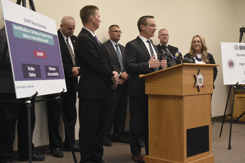 Tulare County Sheriff Mike Boudreaux debuts the new Domestic VIolence High Risk Team at a press conference in October.