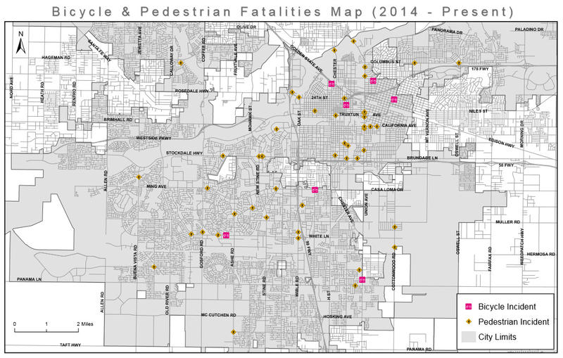 A chart depicting cyclists and pedestrians killed on Bakersfield city streets from 2014 through October 2017