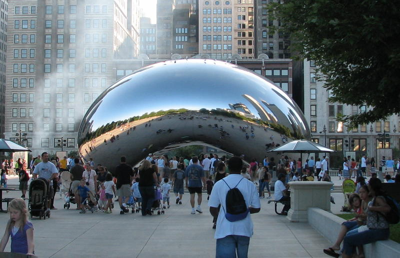 Cloud Gate, a sculpture by Anish Kapoor is a popular Chicago landmark