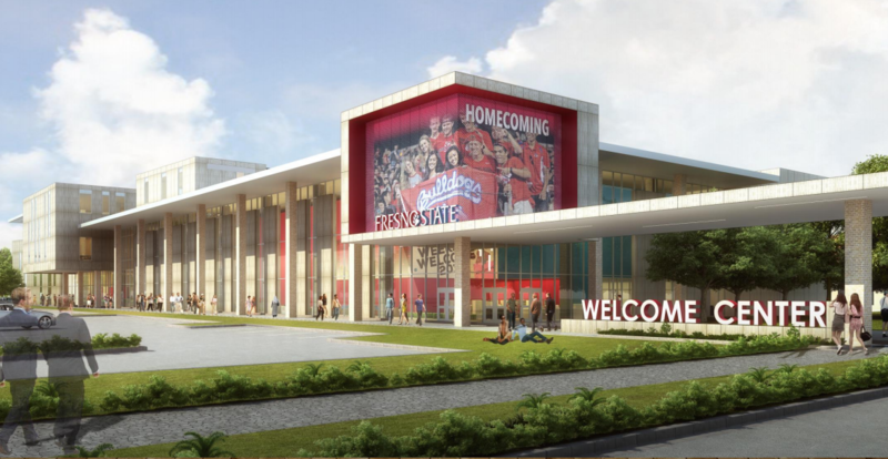 An architectural rendering of the proposed new student union at Fresno State.