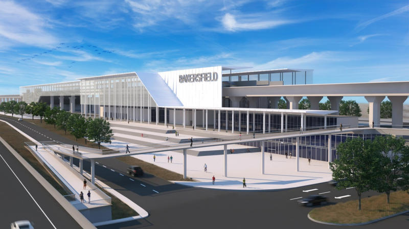 A computer rendering of the proposed Bakersfield High-Speed Rail Station