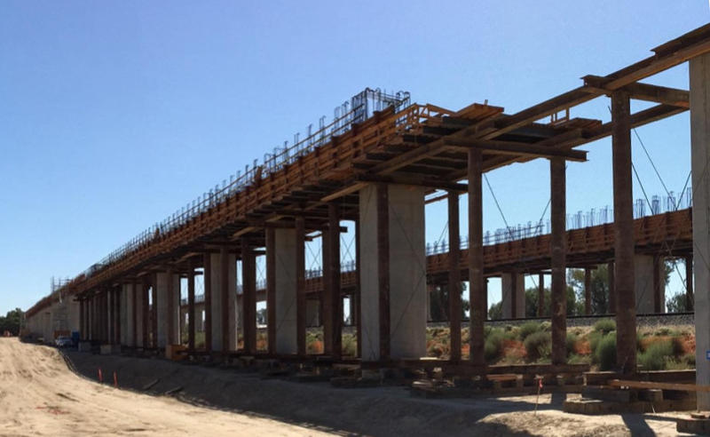 Work is underway on a bridge over the San Joaquin River which will carry high-speed rail trains