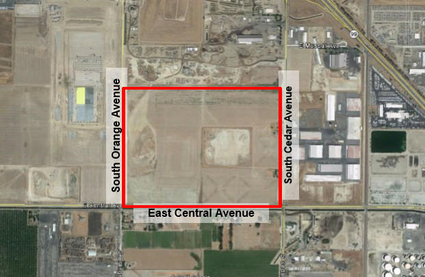 A map of the proposed 110 acre development near Cedar and Central Avenues in South Fresno