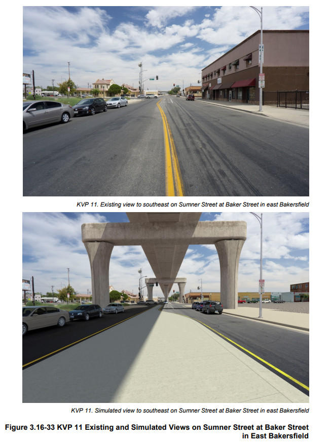 A depecition of the intersection of Sumner and Baker Streets in Old Town Kern today (top) and how it would look with the new high-speed rail viaduct (bottom)