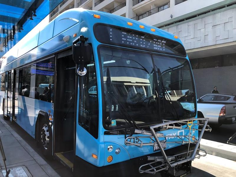 Fresno's new FAX Q buses are a bright blue, and, the city says, offer a quicker ride than the traditional ones.