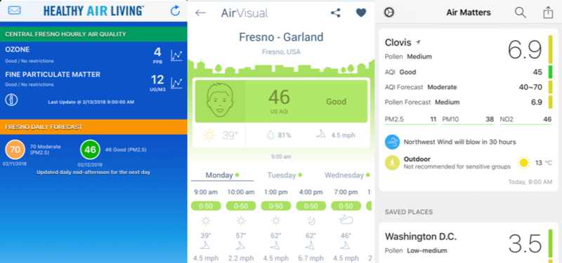 Screen captures from three apps we tested: Valley Air, Air Visual and Air Matters