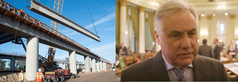 At left: construction is underway on a crossing over the San Joaquin River near Fresno. Right: Fresno Assemblymember Jim Patterson has called for an audit of the project.