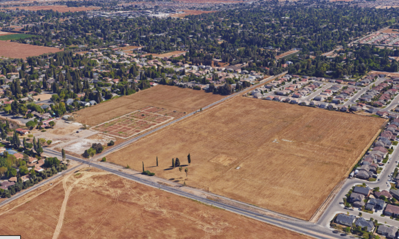 An aerial view of the city-owned property on Peach Avenue in southeast Fresno