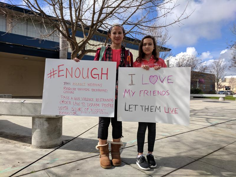 Sandy Rinck and her daughter Morgan Rinck brought signs to Congressman Devin Nunes' office in downtown Clovis.