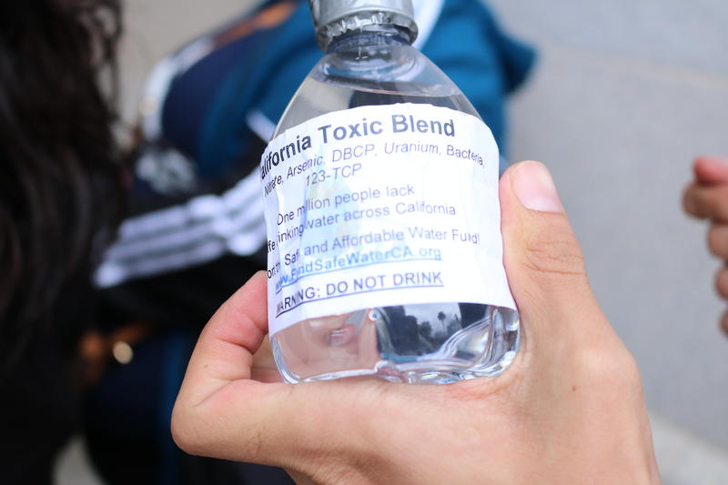 San Joaquin Valley residents brought these water bottles with them to a hearing in March for legislation that would have established a fund to help communities pay for drinking water projects.
