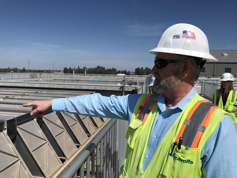 Project Manager Ben Carlisle points out where water runs through Fresno's new Southeast Surface Water Treatment Plant.
