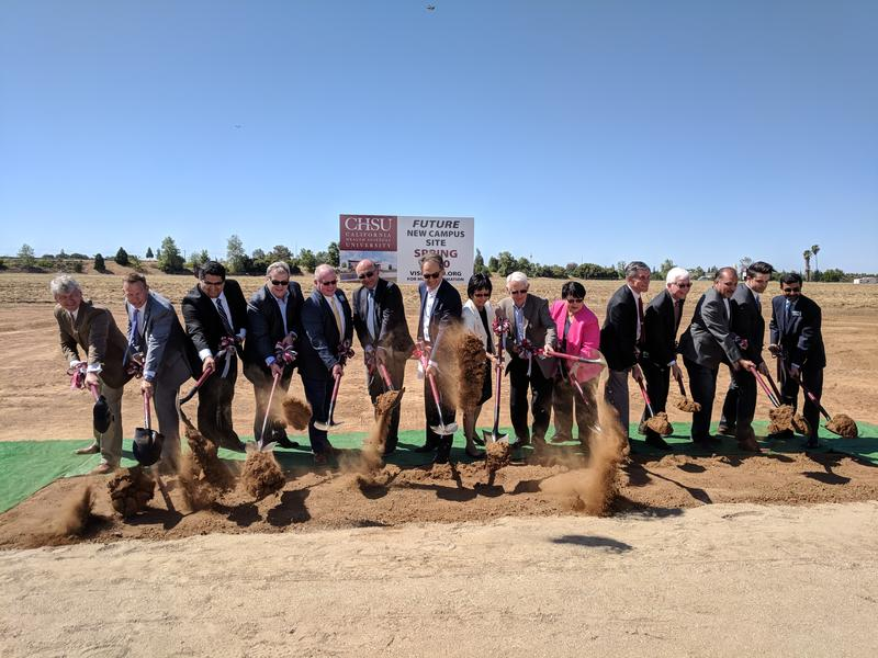 California Health Sciences University administration and local elected officials broke ground on Wednesday on a new university campus in northeast Clovis.