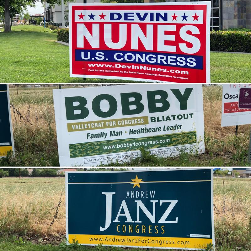 Campaign signs for 22nd Congressional District candidates occupy busy street corners in Clovis.