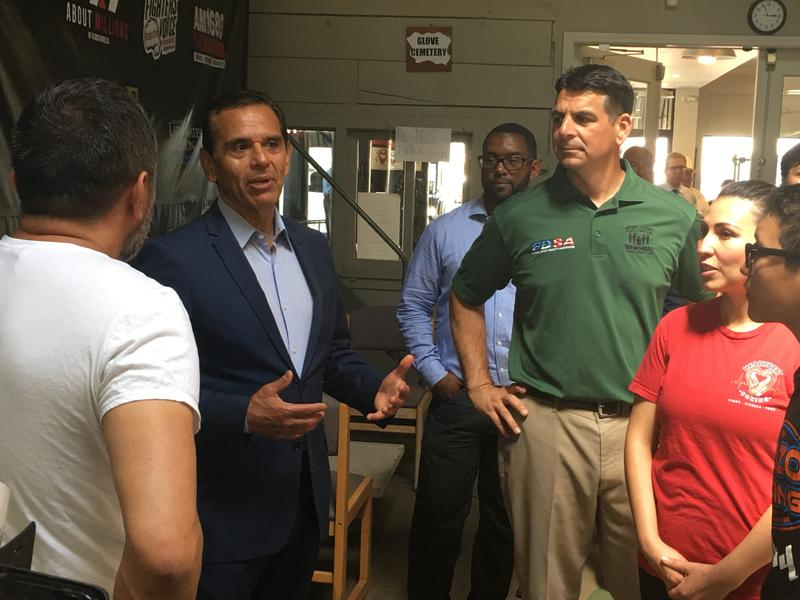 Antonio Villaraigosa visits the Heartbeat Boxing gym in Fresno during a campaign stop before the June 5 primary election.
