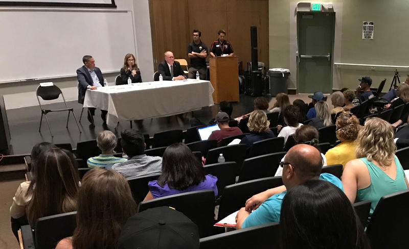 Sheriff candidate Justin Fleeman, and District Attorney Candidates Cynthia Zimmer and Scott Spielman at a recent candidates forum in Bakersfield. Incumbent Sheriff Donny Youngblood did not attend.