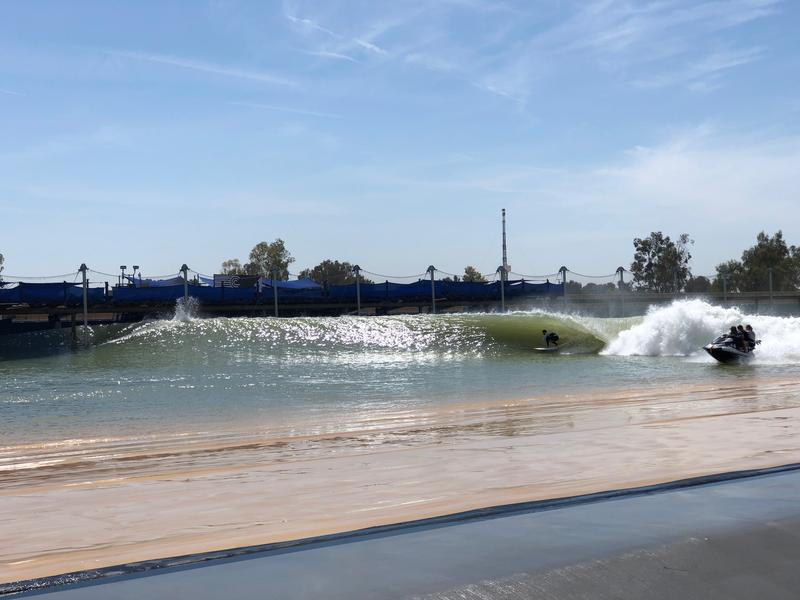 A World Surf League competitor takes a practice ride on Kelly Slater's wave pool in Lemoore, Calif.