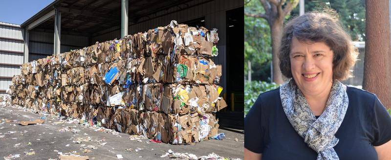 Left: Bales of plastic, paper and other recyclables have been stacking up at recycling centers as China restricts the materials it can accept for import. Right: Kate O'Neill, professor of environmental science, policy and management at UC Berkeley.