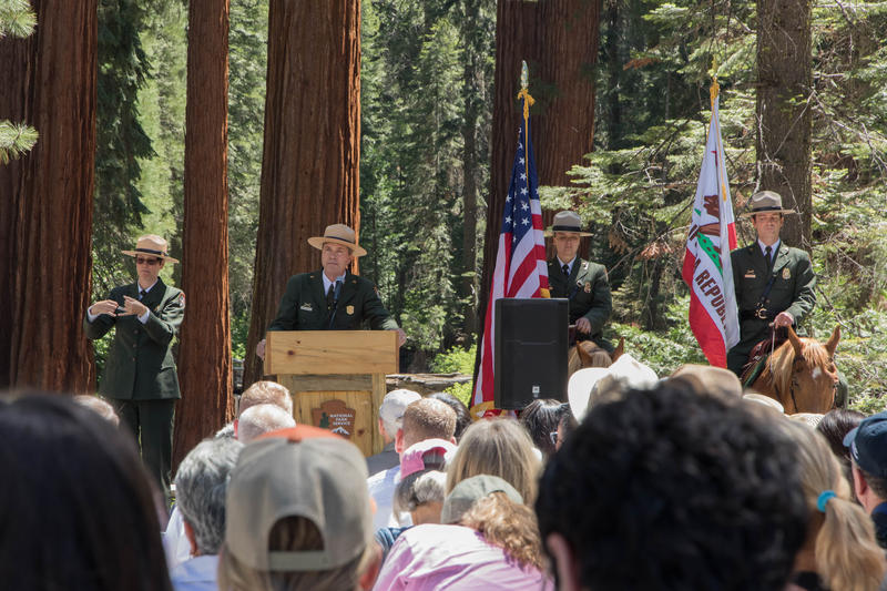 Yosemite National Park Superintendent Michael Reynolds, second from left, addressed a crowd at the grove's dedication ceremony on June 14, 2018.