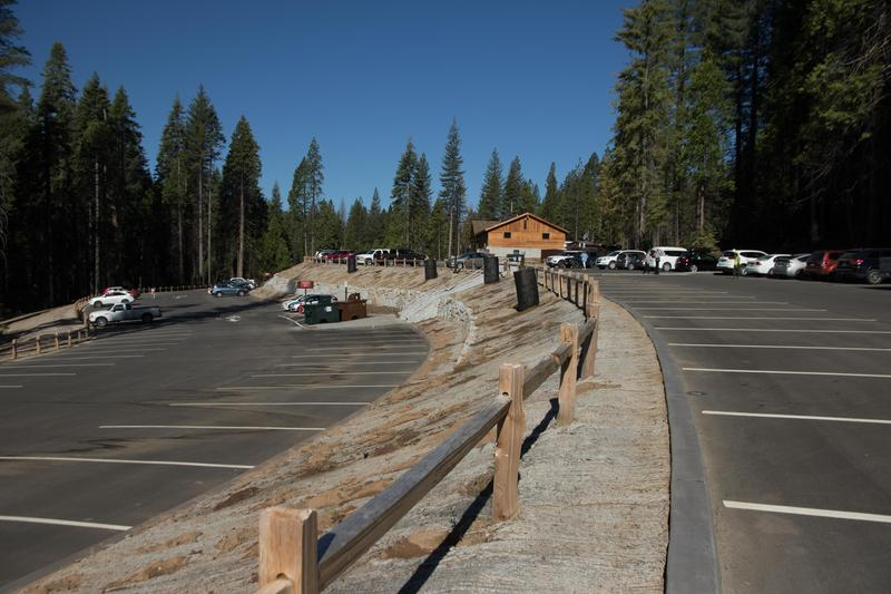 This roughly-300-car parking lot near the park's south entrance replaces a 120-car parking lot at the grove that was removed during the restoration project.