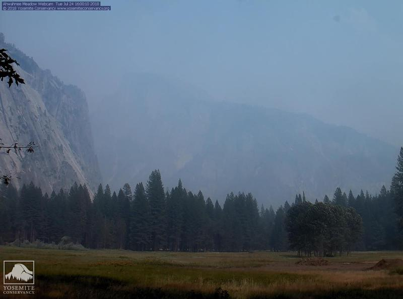 A hazy view of Half Dome on July 24 from the Ahwahnee webcam in Yosemite Valley.