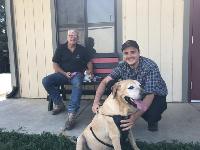 Harald and Lars Sulmanz of Lush Meadows and their dog found shelter at an evacuation center in Mariposa