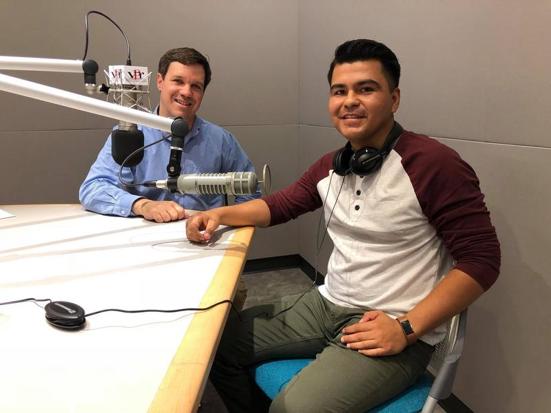 Valley Public Radio's Joe Moore with Martín Chávez of the Stratford Public Utilities District