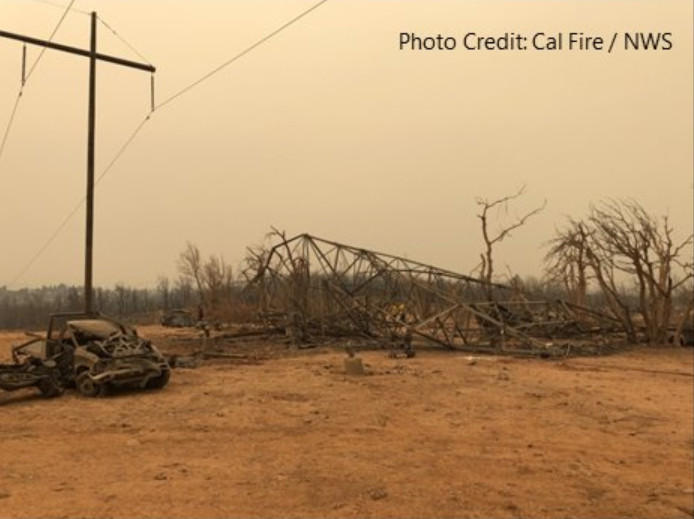 "A photo of damage caused by a ""fire-whirl"" as a result of the Carr Fire near Redding, July 26, 2018. It toppeled high voltage power lines ans stripped vegitation from trees, with winds up to 143 miles per hour."